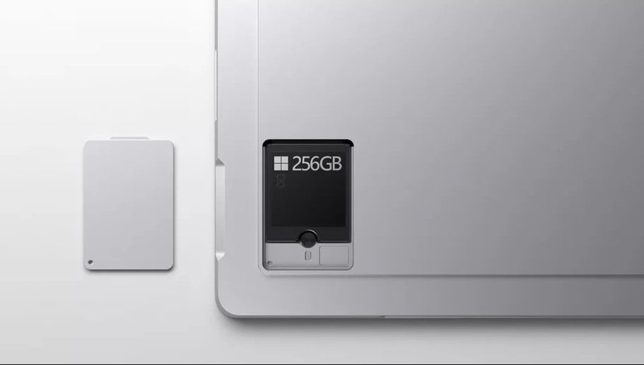The removable SSD on the Surface Pro 7 Plus